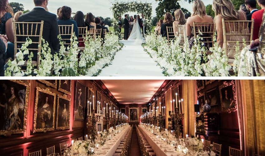 Gold chiavari chairs used for outdoor cermenoy and indoor dining - BE Event Furniture Hire