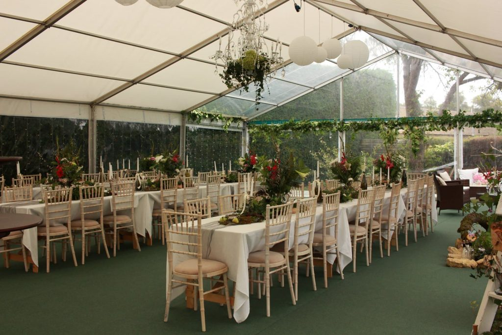 Home wedding with chiavari chairs - BE Event Furniture Hire