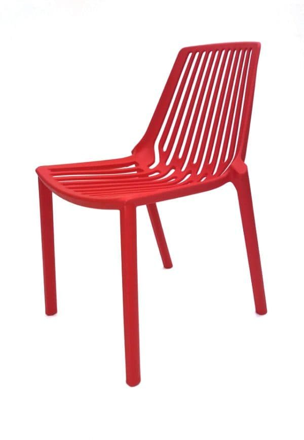Red Plastic Stacking Chair Hire - Events, Exhibitions - BE Furniture Hire