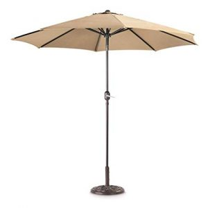 Khaki Parasol - Patio Umbrella to Hire - BE Event Hire