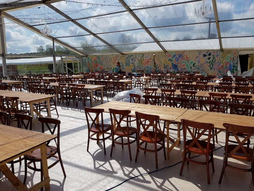 Rustic Marquee Wedding Furniture Hire - Tables and Chairs - BE Event Furniture Hire