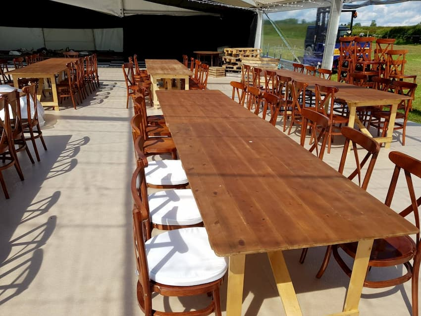Rustic Wedding Furniture in Marquee - BE Event Furniture Hire