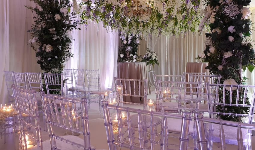 Wedding Ceremony with Crystal Chiavari Chairs - BE Event Furniture Hire