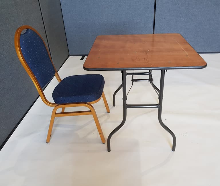 """2'6"""" Wood Square Table and Blue Banquet Chair Set - BE Event Furniture Hire"""