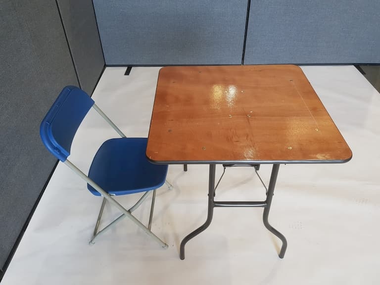 """2'6"""" Wood Square Table and Blue Folding Chair Set - BE Event Furniture Hire"""