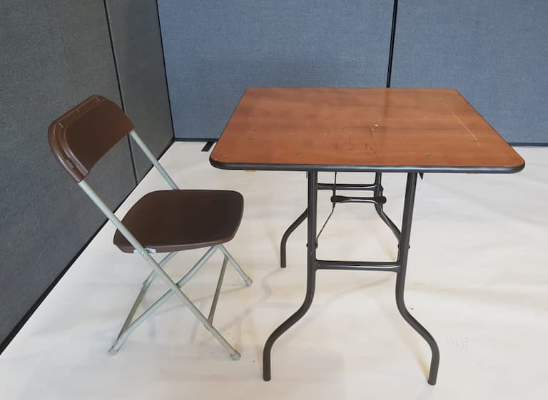 "2'6"" Wood Square Table and Brown Folding Chair Set - BE Event Furniture Hire"