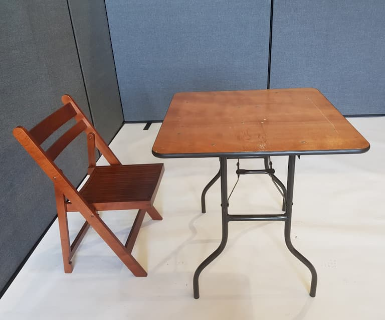 "2'6"" Wood Square Table and Folding Wooden Chair Set - BE Event Furniture Hire"