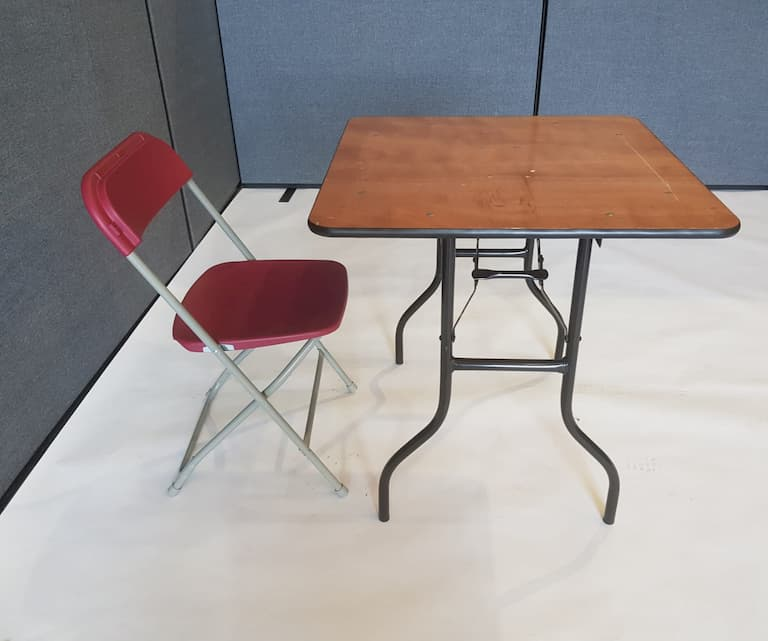 "2'6"" Wood Square Table and Red Folding Chair Set - BE Event Furniture Hire"