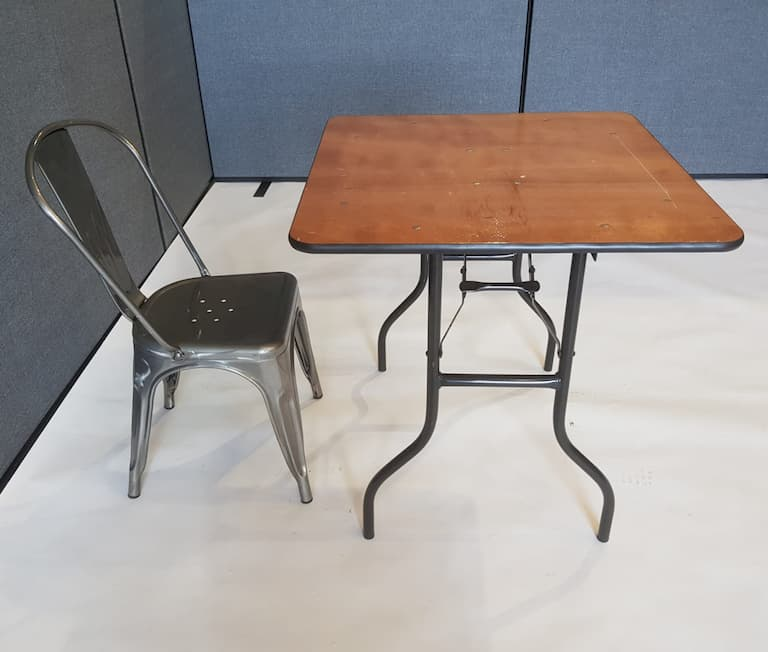 "2'6"" Wood Square Table and Silver Metal Tolix Chair Set - BE Event Furniture Hire"