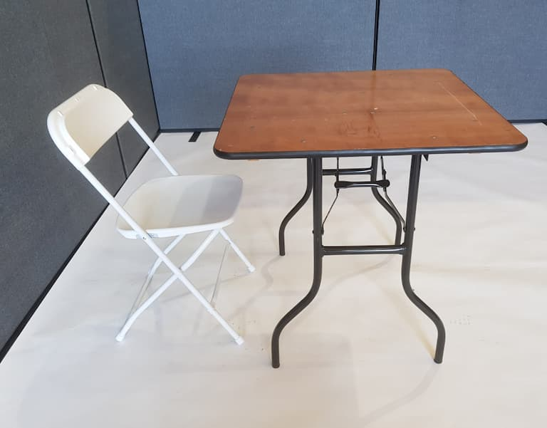 "2'6"" Wood Square Table and White Folding Chair Set - BE Event Furniture Hire"