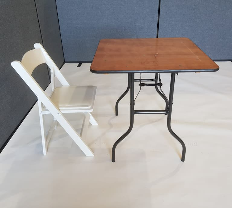 "2'6"" Wood Square Table and White Wooden Folding Chair Set - BE Event Furniture Hire"