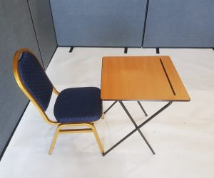 Desk and Blue Banquet Chair set - BE Event Furniture Hire