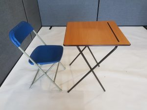 Desk and Blue Folding Chair Set - BE Event Furniture Hire
