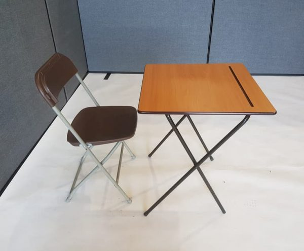 Desk and Brown Folding Chair Set - BE Event Furniture Hire