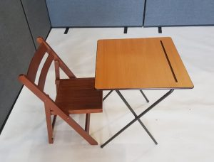 Desk and Folding Wooden Chair Set - BE Event Furniture Hire
