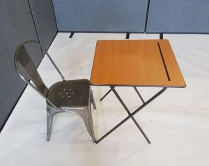 Desk and Metal Tolix Chair set - BE Event Furniture Hire