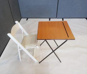 Desk and White Wooden Folding Chair Set - BE Event Furniture Hire