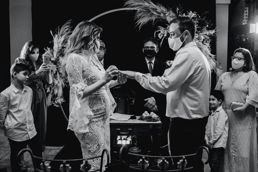 COVID and Your Wedding - Exchanging Rings with Face Masks - BE Event Furniture Hire
